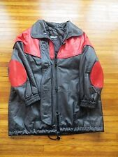 Women s Vintage Joseph Palanker and Sons Black and Red Leather Jacket Coat Small