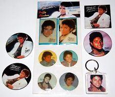 MICHAEL JACKSON 1984 Thriller 6pc Button Pin Keychain Puffy Sticker Lot