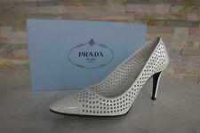 luxus Prada Gr 36,5 Pumps High Heels Lack Schuhe 1I700F weiss NEU UVP 395 €
