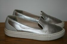 CLARKS NARRATIVE silver leather loafer SIZE 5.5 39 flat pump comfortable
