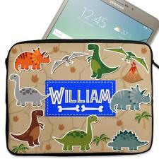 """Personalised Tablet Cover DINOSAUR Neoprene Sleeve Boys Case Gift 7"""" - 10"""" KS114"""