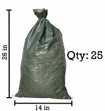 "25 Sand Bag Barricades 14"" X 26"" Sandbags Poly Bags Fortification Flood Barriers"