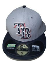 New Era 59Fifty Tampa Bay Rays Fitted Hat (Grey) MLB Cap 7 1/2 Stars n Stripes.
