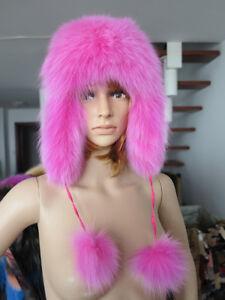 New style 100% Genuine FOX fur cap / fur HAT/ headbands/ pink/ shipping free