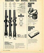1976 Print Ad of Weaver 22 Model Rifle Scope D4 D6 V22 Lens Caps & Parts Kit