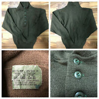 Vintage US Army Military OD Wool Uniform Sweater Size Small 34-36 Olive Drab GUC