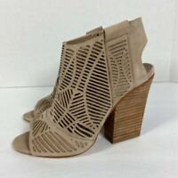 Vince Camuto Womens Kimora Booties Beige Leather Block Heel Cutout Zip 4 M New