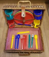 PICNIC WICKER BASKET WITH DINING SET/ FOR TEAPOT/PICNIC/ WEDDING/ FAMILY