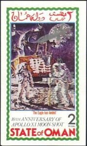 Oman 1998 John Glenn/Space Flight/Apollo 11/Moon imperf m/s silver o/p (b4629)