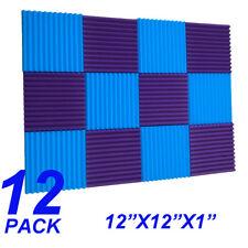 12 Pack Acoustic Panels foam  sponge Wedges Soundproofing Panels blue / purple