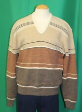 Vintage 70' Men's Biltmore Beige Brown Stripe Knit Pullover V Neck Sweater - XL