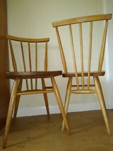 2 Vintage Retro Mid Century Modern Ercol Windsor 391 All Purpose Dining Chairs