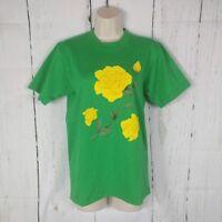 Vintage Yellow Rose of Texas Salem Sportswear Green T-Shirt Small S USA Single