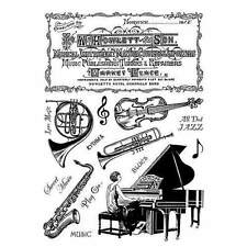 Crafty Individuals MUSICAL NOTES Unmounted Red Rubber Stamps