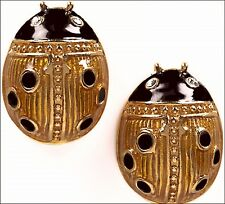 Russian Style large Ladybug Post Earrings Gold/Black Enamel Free US Shipping