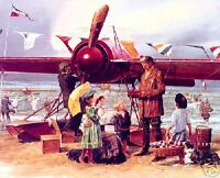"""Le Autograph"" James Dietz Print - Pre-WWII Airplane and Pilot on French Beach"