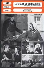 LE CHANT DE BERNADETTE - Jones,King (Fiche Cinéma) 1943 - The Song of Bernadette