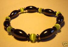Green Cats Eye & Hematite Crystal Magnetic Bracelet Reiki Attuned Heart Chakra