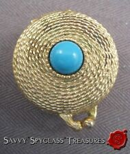1968 Estee Lauder Youth Dew Solid Perfume Compact Golden Rope Turquoise Cabochon