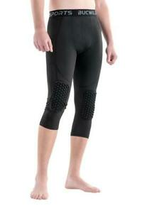 ¾ Compression Pants with Knee Pads Size Youth Boys - Adult Men Sports Basketball