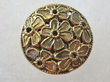 Antique Vintage Button-Le Chic Mirror Back Brass Raised Embossed Floral Overlay