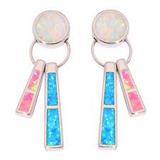 """Blue Pink White Fire Opal Silver Women Jewelry Gems Stud Earrings 1 3/8"""" OH4333"""