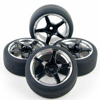 4Pcs Drift Rubber Tires W/ Foam & Wheel Rims For HSP HPI 1:10 On-Road RC Car
