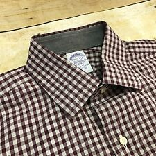 Brooks Brothers Slim Fit USA Made Red Gray Checker Men's 15 1/2 33 Dress Shirt