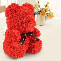 40cm Ours en Rose Nounours Mousse Coeur Amour Fleur Mariage Cadeau Romantique C3