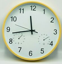 12'' Inch Wall Clock Battery Operated Silent Non-Ticking Round (Yellow)