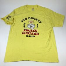 TED DREWS Frozen Custard T-Shirt Iconic Route 66 St. Louis MO Hanes Large Yellow