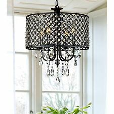 4-light Round Crystal Chandelier Drum pendant ceiling lighting Fixture Lamp US