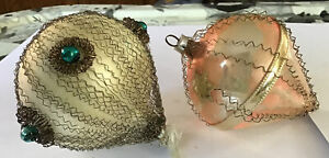 2 Antique Christmas Ornaments Glass Wire Wrapped