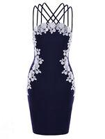 Plus Size XL-5XL Lady Hot Women Sexy Dress Floral Applique Strappy Evening Party