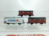 BI528-0,5# 3x Fleischmann H0/DC Güterwagen DB: Nordsee 802 4 983-7 + Gmhs 53