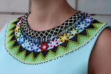 Native American Beaded Necklace, Huichol Necklace, Beaded Bib, Collar Necklace