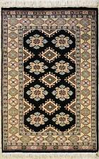 Rugstc 2.5x4 Bokhara Jaldar Black  Rug, Hand-Knotted,Geometric with Silk/Wool