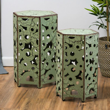 Set of 2 Side Table End Table Iron Accent Set Plant Stand Green Aged Yard Indoor