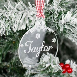 Personalised Christmas Tree Decoration Engraved Name Bauble Xmas Baby Gift Clear