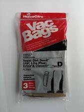 Home Care Vac Bags Type D Royal Dirt Devil No. 3055 3 Vacuum Bags Per Pack
