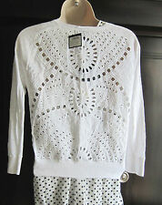 Club Monaco 100% Linen Janet Cardigan White Cut Out Design Sweater sz.XS NWT