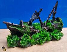 Shipwreck Grass Moss Aquarium Ornament Cave Hide Decoration Fish Tank New