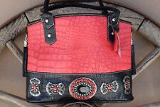 Red & Black Genuine Leather Embossed Alligator Handbag