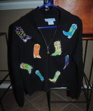 Western-theme women's sweater, Adobe Rose, cowboy boot design, size LARGE