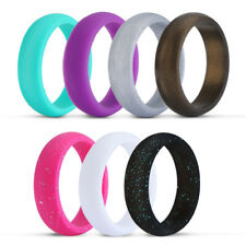 8Pack Silicone Wedding Engagement Ring Men Women Rubber Band Gym Sport Flexible
