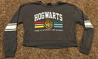 harry potter Hogwarts Womens M Rayon Blend Gray Crop Top Sweater A30