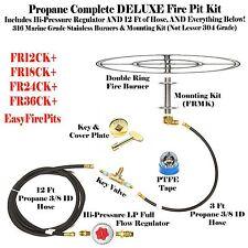 "FR18CK+: DIY DELUXE PROPANE FIRE PIT KIT & 18"" DOUBLE RING 316 STAINLESS BURNER"