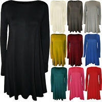 New Womens Plain Jersey Long Sleeve Stretch Flared Ladies Short Swing Dress 8-14