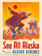 See All Alaska Vintage United States of America Travel Advertisement Poster