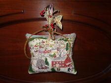 Primitive Vintage Bark Cloth GRANDMA MOSES Pillow Tuck (DEEP SNOW 2)